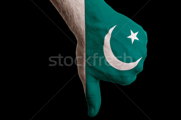pakistan national flag thumbs down gesture for failure made with Stock photo © vepar5