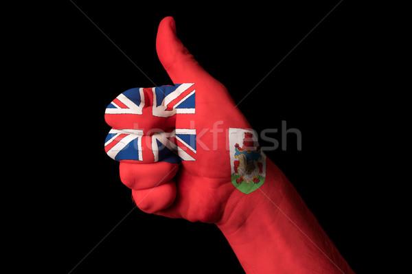 Banderą kciuk w górę gest doskonałość strony Zdjęcia stock © vepar5