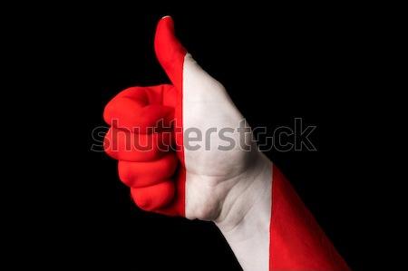 Perù bandiera pollice up gesto eccellenza Foto d'archivio © vepar5