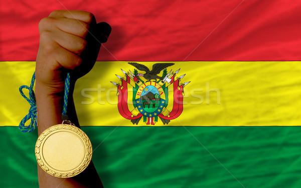 Aranyérem sport zászló Bolívia nyertes tart Stock fotó © vepar5