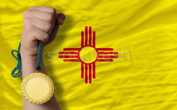 Gouden medaille sport vlag amerikaanse New Mexico winnaar Stockfoto © vepar5