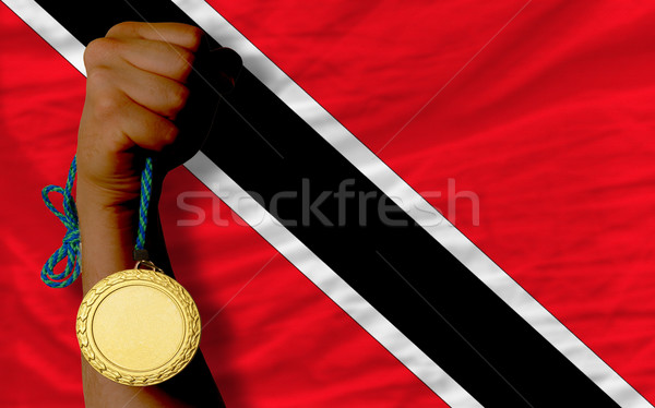 Gold medal for sport and  national flag of trinidad tobago    Stock photo © vepar5