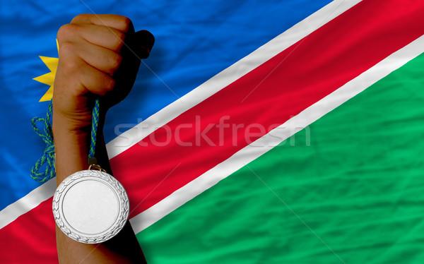 Gümüş madalya spor bayrak Namibya Stok fotoğraf © vepar5
