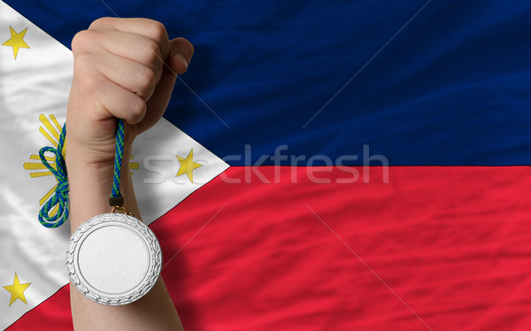 Silver medal for sport and  national flag of philippines    Stock photo © vepar5