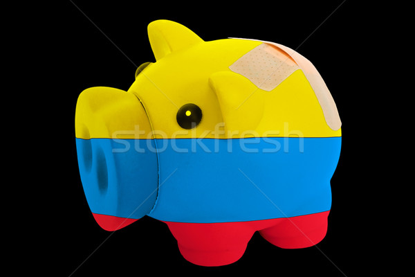 bankrupt piggy rich bank in colors of national flag of columbia  Stock photo © vepar5