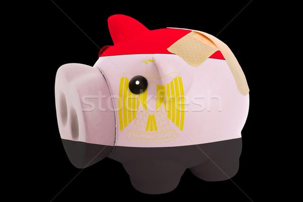bankrupt piggy rich bank in colors of national flag of egypt     Stock photo © vepar5
