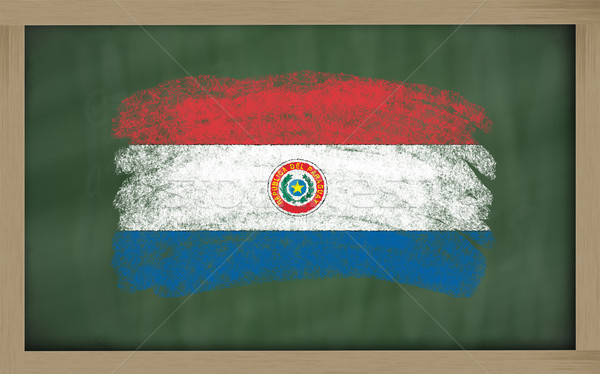 national flag of paraguay on blackboard painted with chalk Stock photo © vepar5