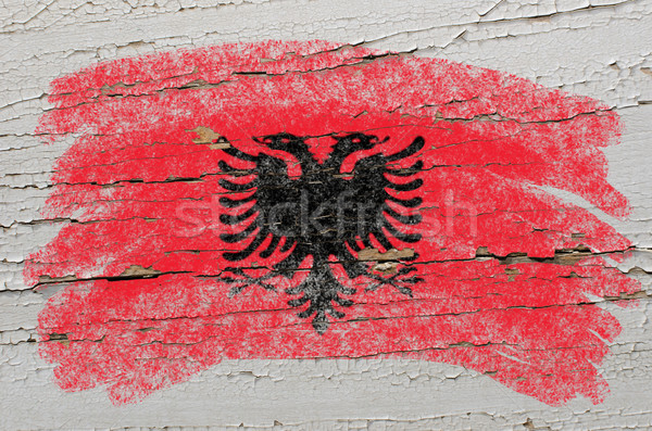 flag of albania on grunge wooden texture painted with chalk   Stock photo © vepar5