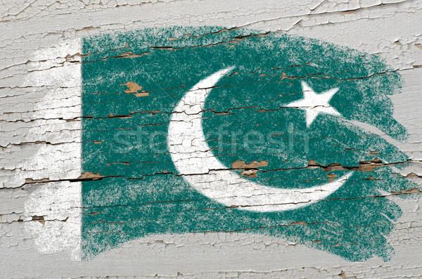 Bayrak Pakistan grunge ahşap doku boyalı Stok fotoğraf © vepar5