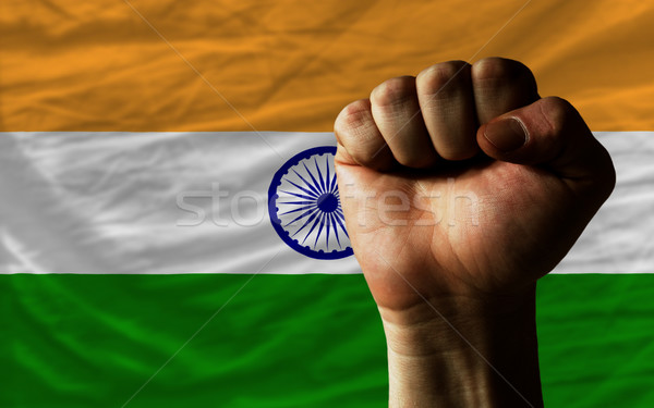 Hard fist in front of india flag symbolizing power Stock photo © vepar5