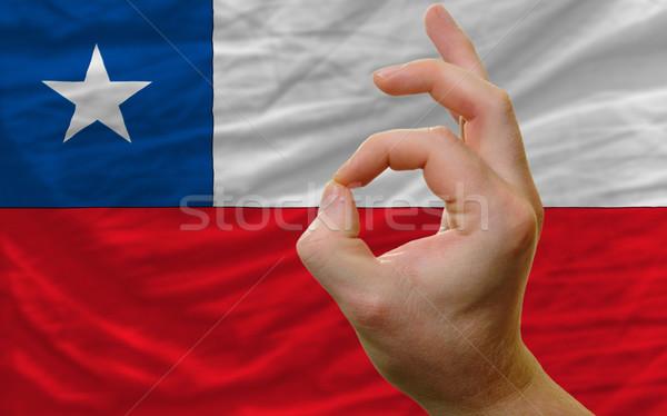 Ok kézmozdulat Chile zászló férfi mutat Stock fotó © vepar5