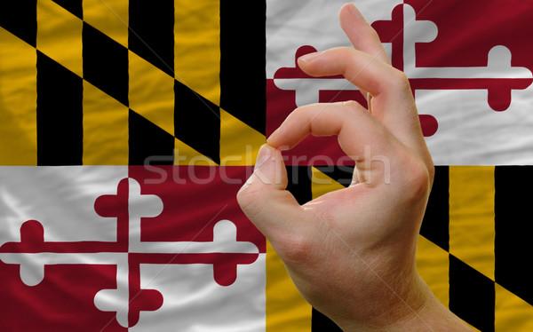 Ok kézmozdulat Maryland zászló férfi mutat Stock fotó © vepar5