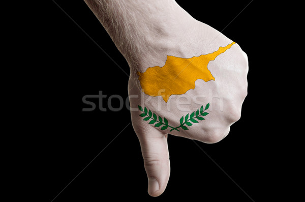 cyprus national flag thumbs down gesture for failure made with h Stock photo © vepar5