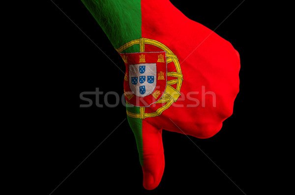 portugal national flag thumbs down gesture for failure made with Stock photo © vepar5