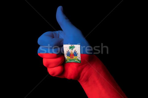 Haiti bandiera pollice up gesto eccellenza Foto d'archivio © vepar5