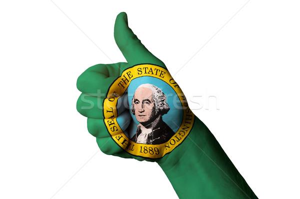 Washington vlag duim omhoog gebaar uitmuntendheid Stockfoto © vepar5