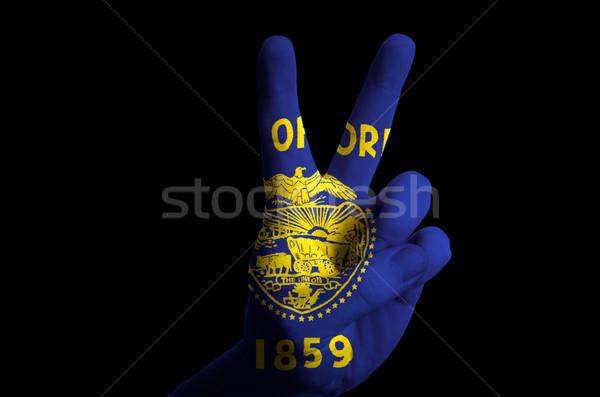 Орегон флаг два пальца вверх жест Сток-фото © vepar5