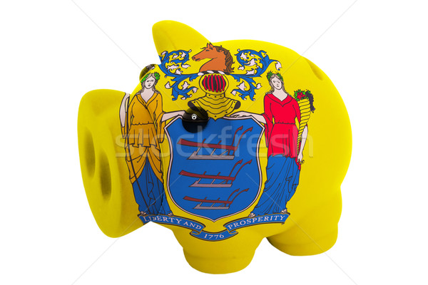 piggy rich bank in colors  flag of american state of new jersey  Stock photo © vepar5
