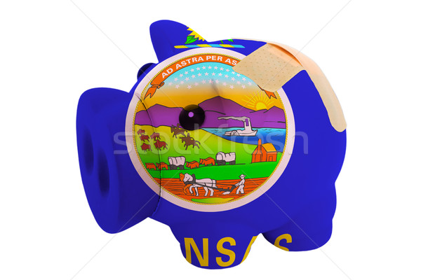 closed piggy rich bank with bandage in colors flag of american s Stock photo © vepar5