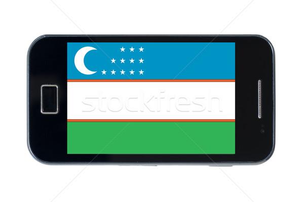 Bayrak Özbekistan telefon Internet telefon Stok fotoğraf © vepar5