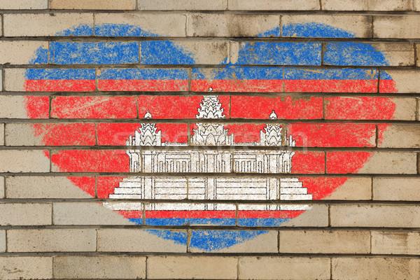 heart shape flag of cambodia on brick wall Stock photo © vepar5
