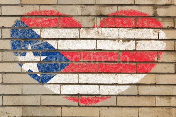 Hartvorm vlag Puerto Rico muur hart Stockfoto © vepar5