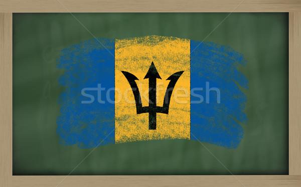 Stok fotoğraf: Bayrak · Barbados · tahta · boyalı · tebeşir · renk