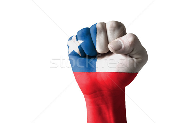 Fist painted in colors of chile flag Stock photo © vepar5