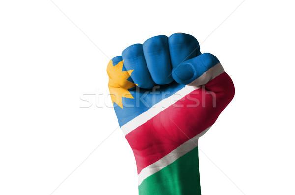 Pięść malowany kolory Namibia banderą niski Zdjęcia stock © vepar5