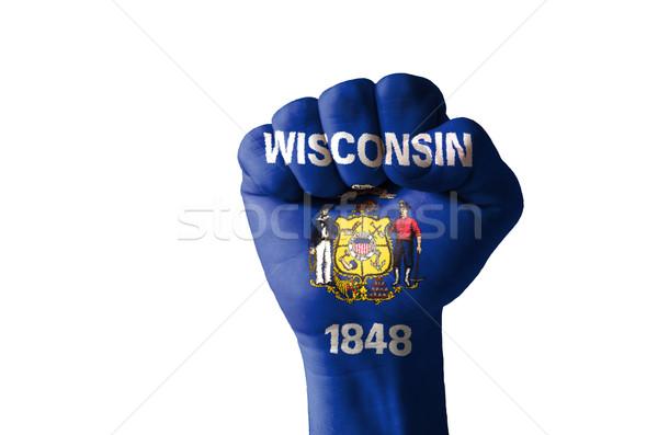 кулаком окрашенный цветами Висконсин флаг низкий Сток-фото © vepar5