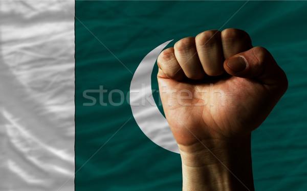 Hard fist in front of pakistan flag symbolizing power Stock photo © vepar5