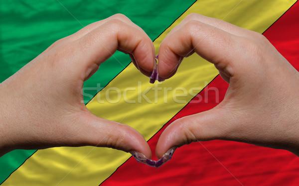 Vlag Congo hart liefde gebaar handen Stockfoto © vepar5