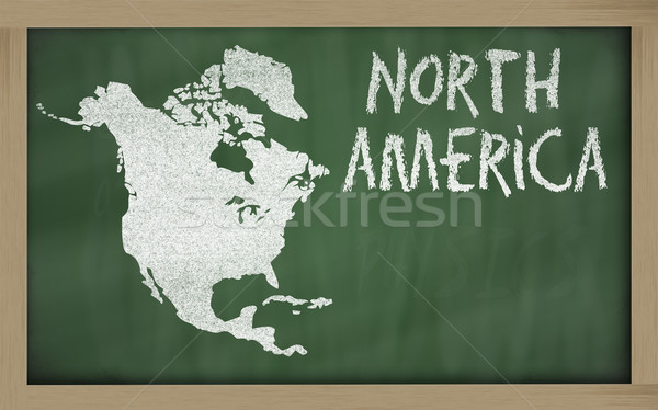 Schets kaart noorden amerika Blackboard tekening Stockfoto © vepar5