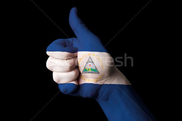Nicaragua bandiera pollice up gesto eccellenza Foto d'archivio © vepar5