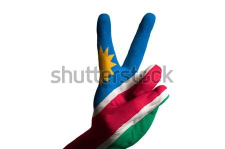 Намибия флаг два пальца вверх жест Сток-фото © vepar5