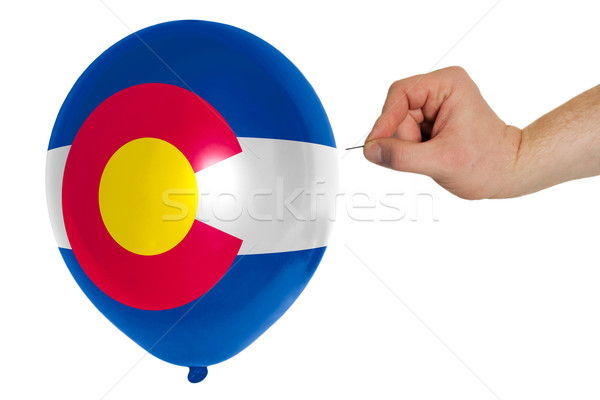 Bursting balloon colored in  flag of american state of colorado  Stock photo © vepar5