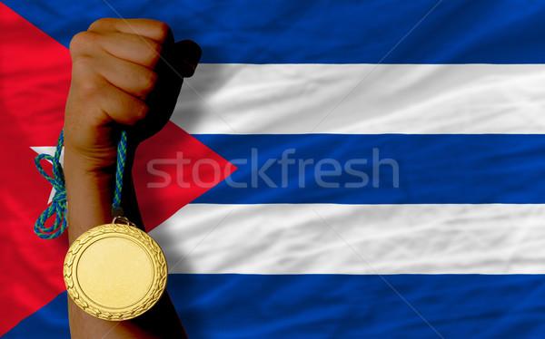 Aranyérem sport zászló Kuba nyertes tart Stock fotó © vepar5
