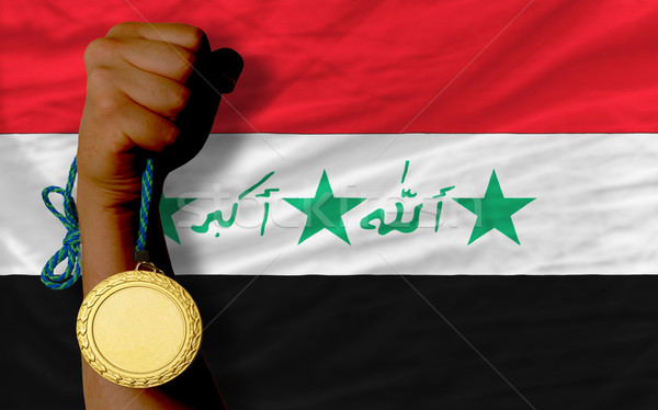 Gold medal for sport and  national flag of iraq    Stock photo © vepar5