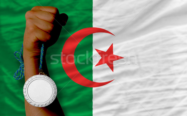 Silver medal for sport and  national flag of algeria    Stock photo © vepar5