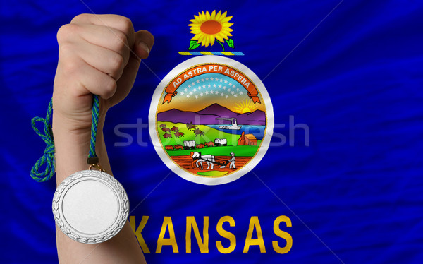Stock photo: Silver medal for sport and  flag of american state of kansas