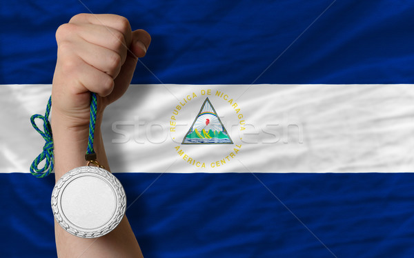 Prata medalha esportes bandeira Nicarágua Foto stock © vepar5