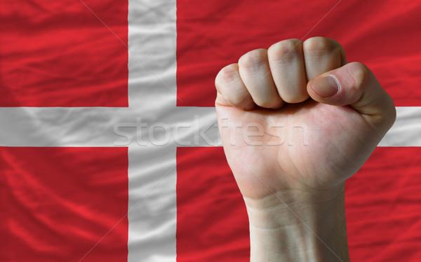 Hard fist in front of denmark flag symbolizing power Stock photo © vepar5