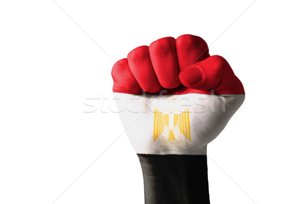 Stock photo: Fist painted in colors of egypt flag
