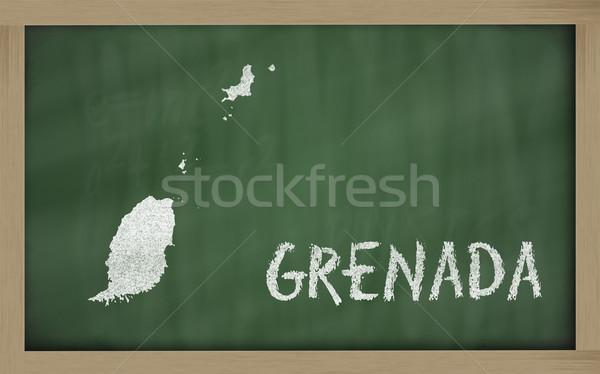 Schets kaart Grenada Blackboard tekening Stockfoto © vepar5