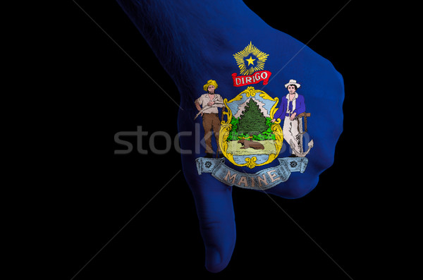 maine us state flag thumbs down gesture for failure made with ha Stock photo © vepar5