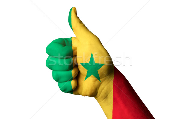 senegal national flag thumb up gesture for excellence and achiev Stock photo © vepar5