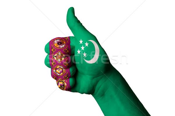 Туркменистан флаг большой палец руки вверх жест превосходство Сток-фото © vepar5