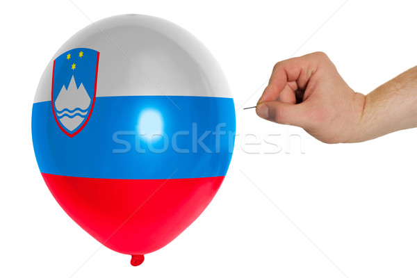 Bursting balloon colored in  national flag of slovenia Stock photo © vepar5