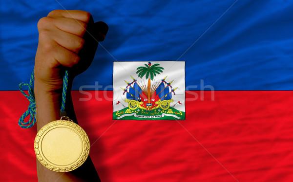Gouden medaille sport vlag Haïti winnaar Stockfoto © vepar5