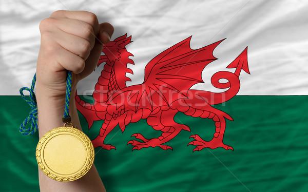Altın madalya spor bayrak galler kazanan Stok fotoğraf © vepar5